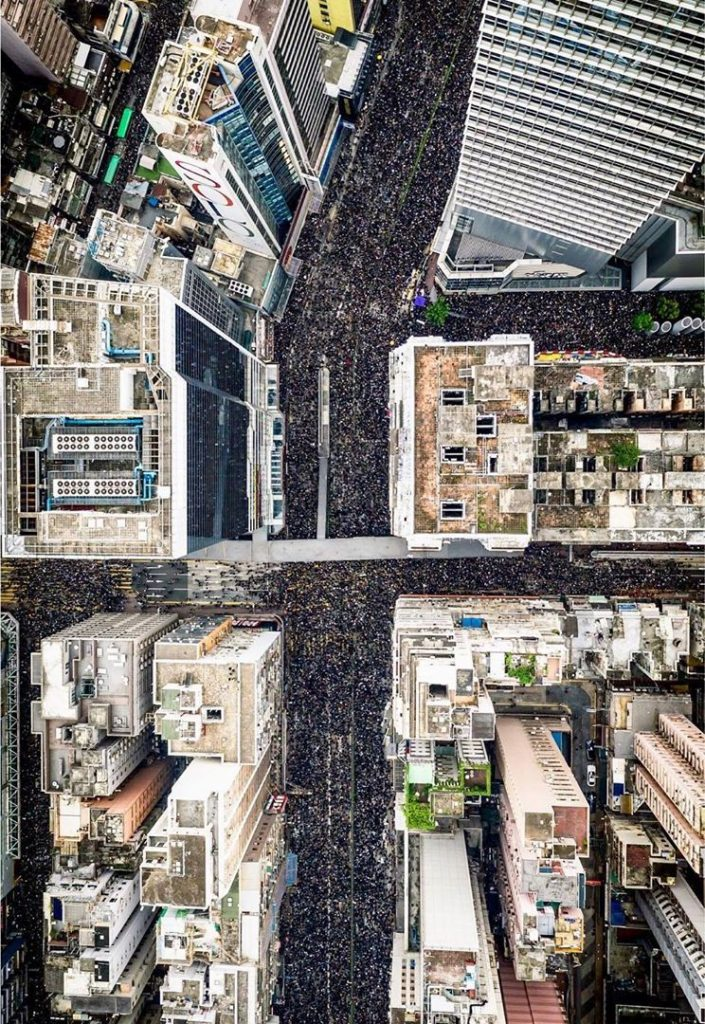 Aerial view of June 16 march over Causeway Bay