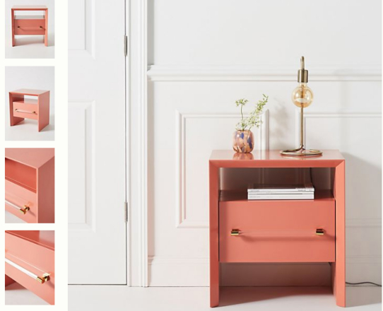 coral bedside table