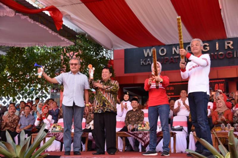 Gubernur Jateng Ganjar Pranowo di perayaan Hari Jadi ke-69 Provinsi Jawa Tengah yang dipusatkan di Kabupaten Wonogiri, Minggu (25/8/2019). (Foto: keuangan.co)