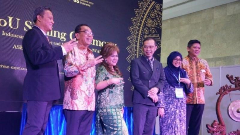 Pembukaan Franchise & License Expo Indonesia (FLEI) 2019 di Jakarta, Jumat (13/9/19). (Foto : Ade Irma Junida)