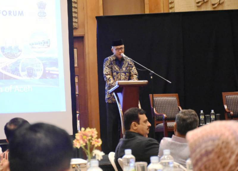 Plt Gubernur Aceh, Nova Iriansyah, dalam acara Indonesia - India Businness Forum di Hotel Aryadhuta, Jakarta Pusat, Senin, (25/11/19). (Foto: Zikrullah)