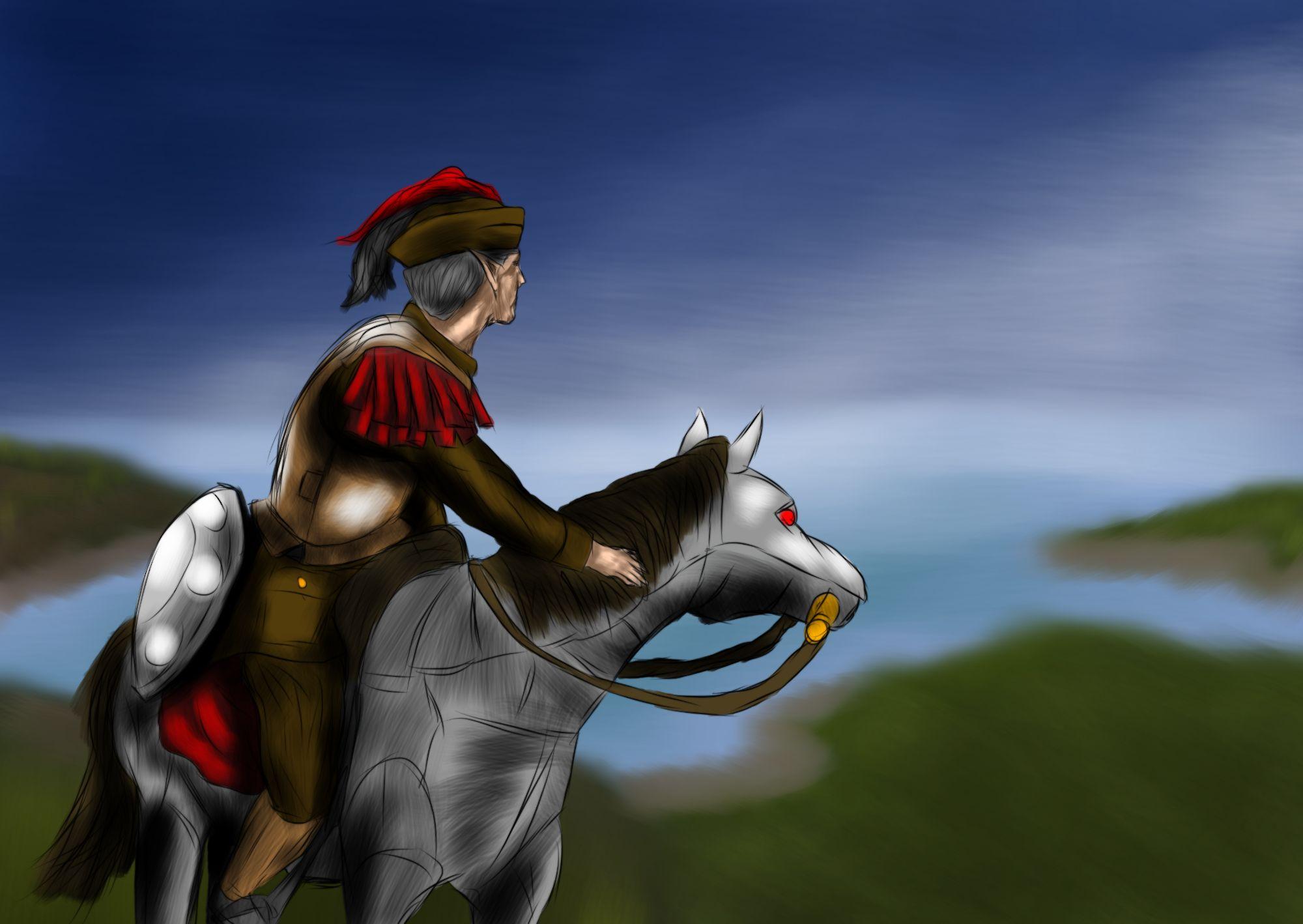 พลตระเวนเผ่าเอลฟ์สูง กรมทหารวิดาเลียที่ 2 ขณะลาดตระเวนตรวจการในมณฑลหลวงมิโตรโปเลีย จักรวรรดิเอลีเซีย