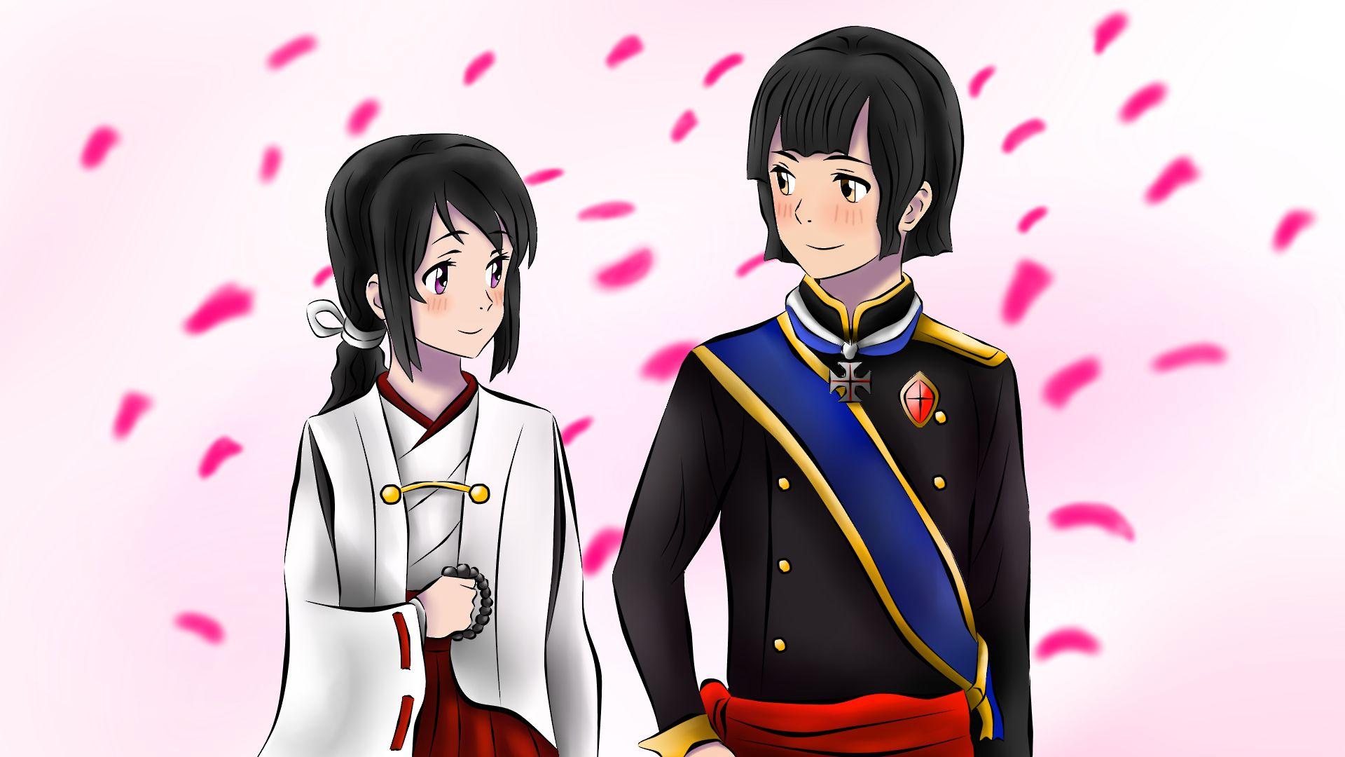 ทาจิบานะ มิตสึโกะ, มิโกะแห่งเทพีอินาริ และ เจ้าชายอาริสึงาวะ โนะ คัตสึโอะ, เจ้าชายประมุขราชสกุลอาริสึงาวะ และนายทหารกรมรักษาพระองค์ยาชิม่า