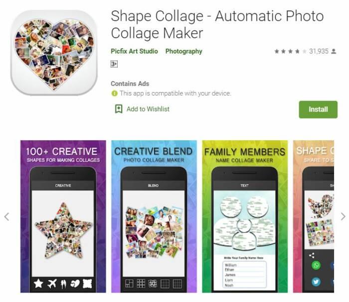 aplikasi photo collage terbaik gratis untuk Android Shape Collage