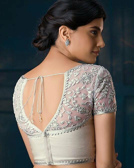 V-shaped blouse back design