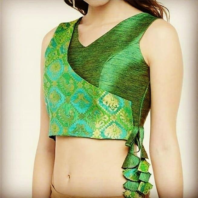 Angrakha style blouse neck design