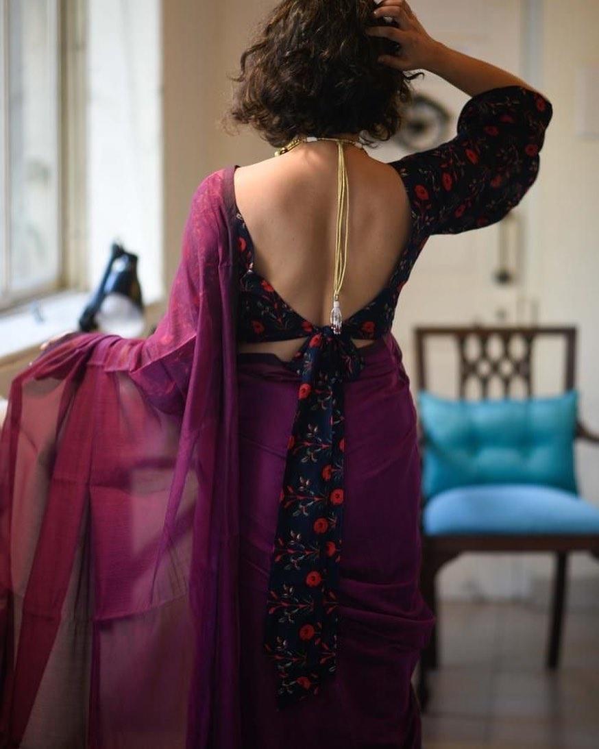 Tie up Blouse Back Design
