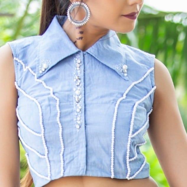 Shirt Collar Blouse Neck Design