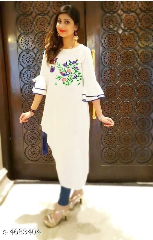Asymmetric White Kurti with Embroidery Design