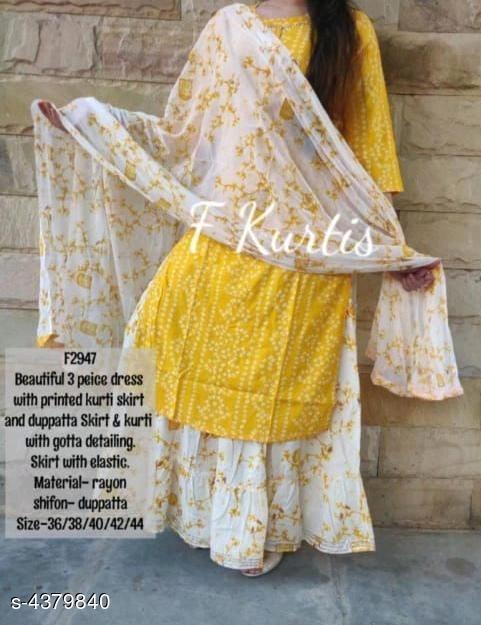 Yellow Bandhani Print Kurti Skirt Holi