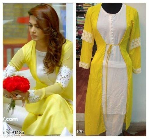 White Holi Kurti with Yellow Jacket