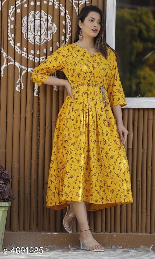 Yellow Printed Kurti dress