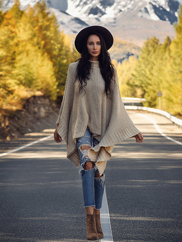 Poncho Top With Jeans
