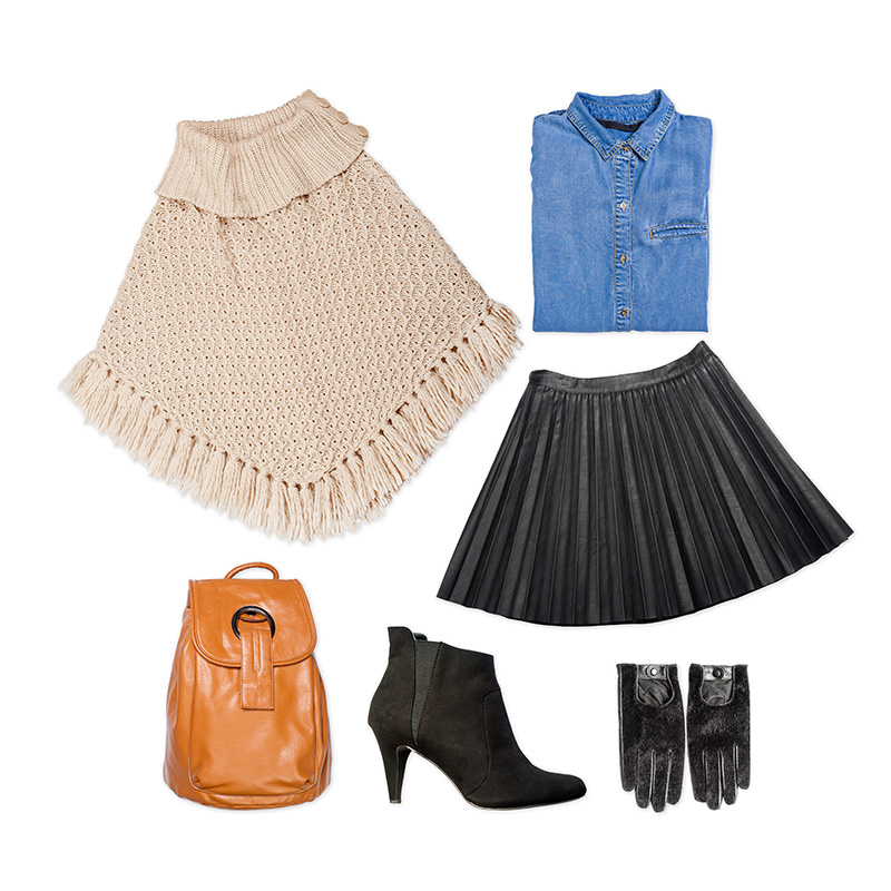 Poncho Top With Skirt