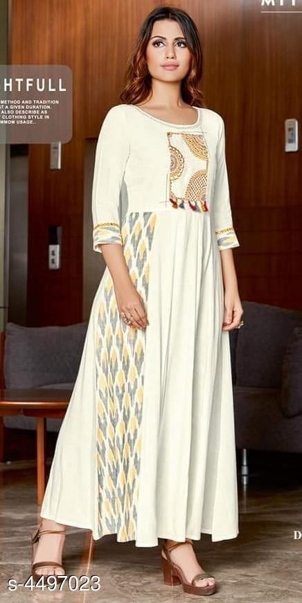 White gown Style Holi kurti