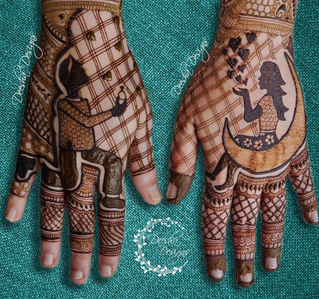 Personalised Back hand mehndi design
