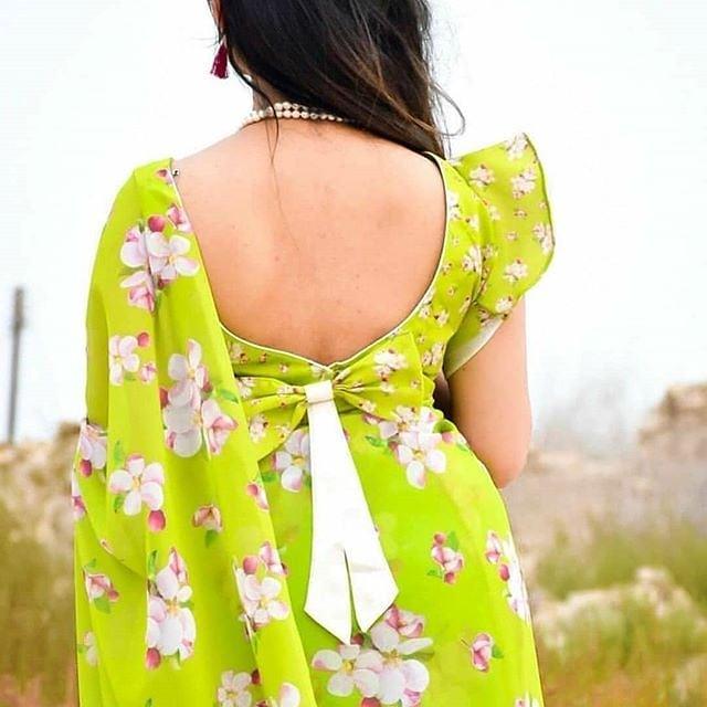 Ruffled Sleeve Blouse Design