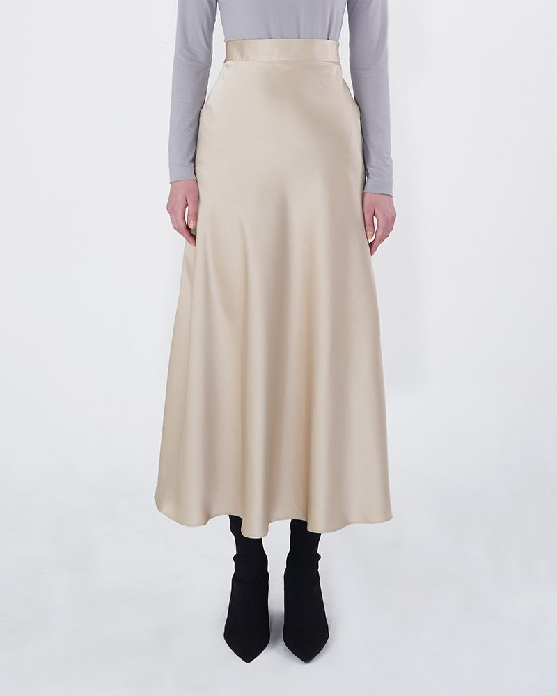 BIAS-CUT SATIN SKIRT