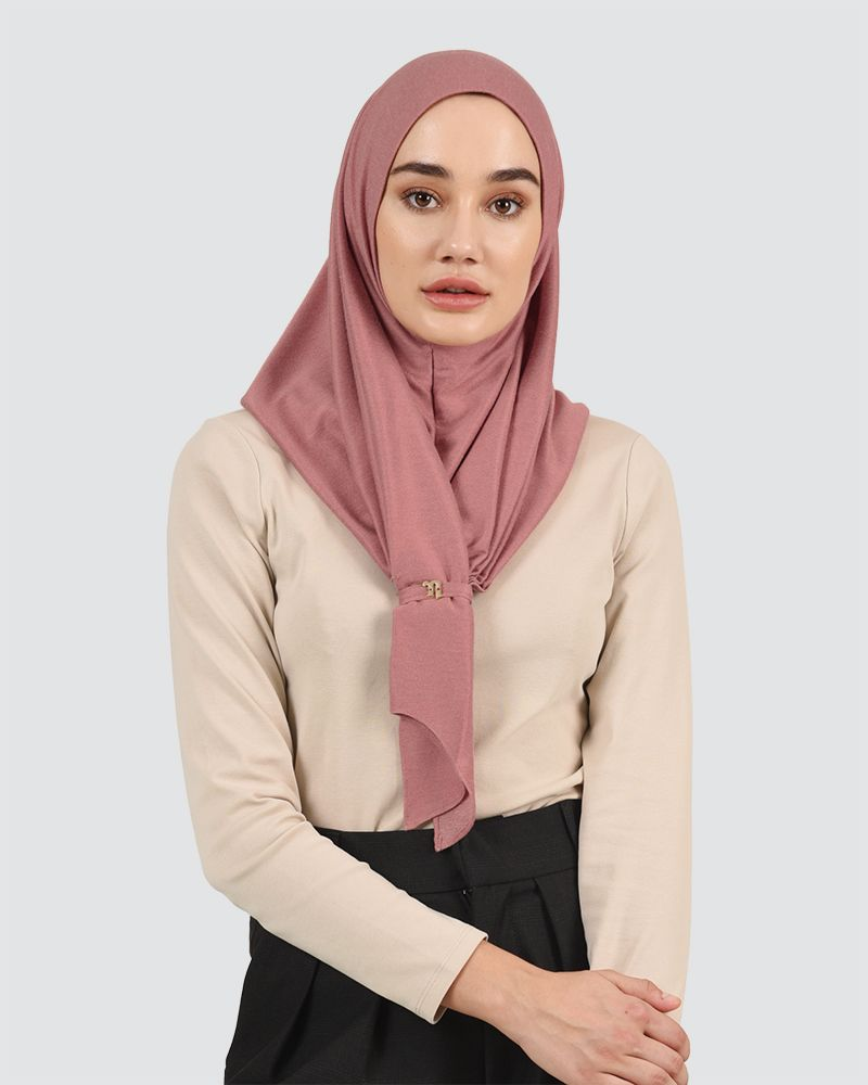 FRONT KNOT DENIM - DUSTY RED-PINK