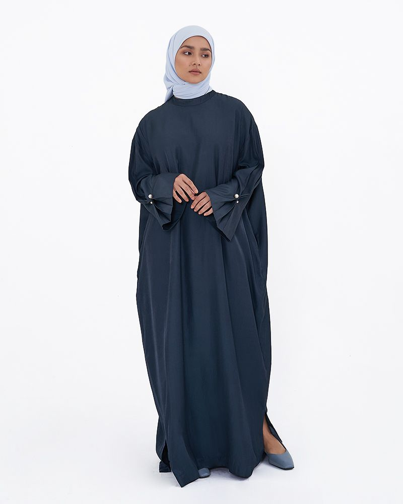 MANDARIN COLLAR DRESS - DARK BLUE