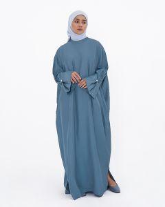 MANDARIN COLLAR DRESS - CYAN-BLUE