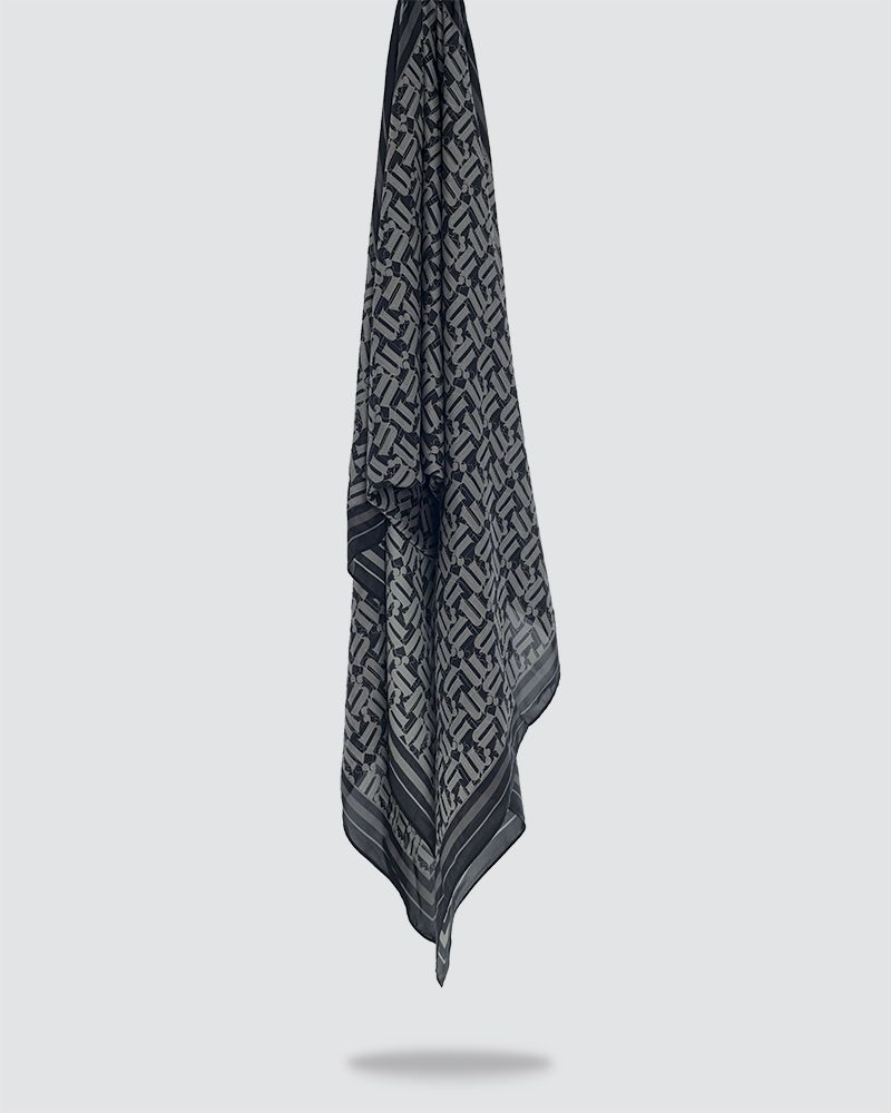 MONO PRINTED SHAWL - BLACK