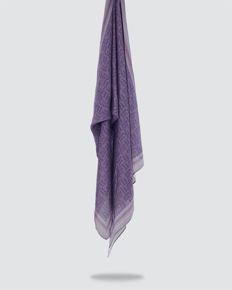 MONO PRINTED SHAWL - DUSTY PLUM-PURPLE