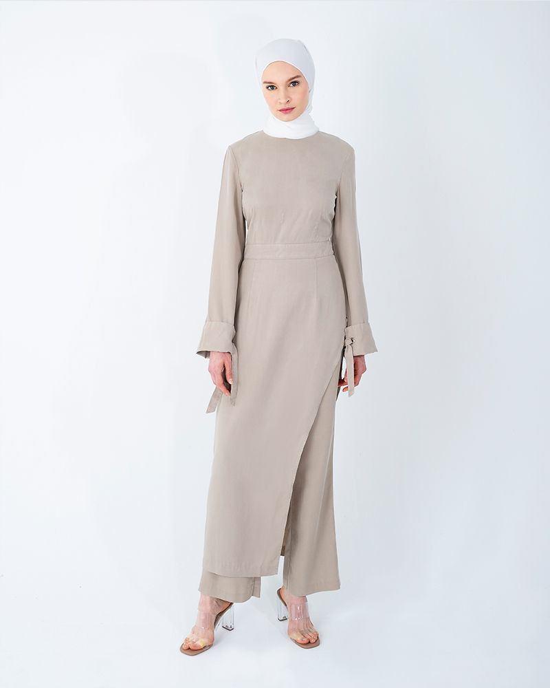 ASYMMETRICAL TENCEL LONG TOP-BEIGE