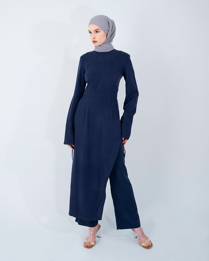 ASYMMETRICAL TENCEL LONG TOP-ENSIGN BLUE