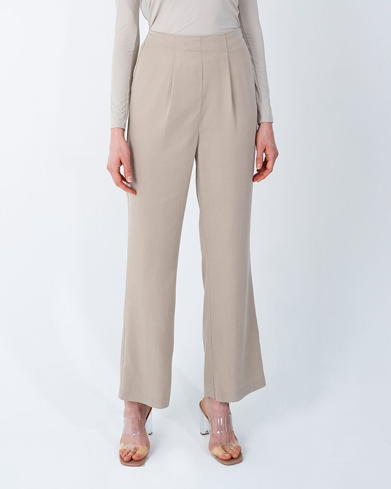 BACK SLIT TENCEL PANTS-BEIGE