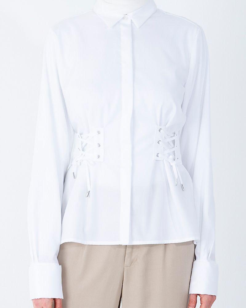 CORSET-BELT COTTON SHIRT-BRIGHT WHITE
