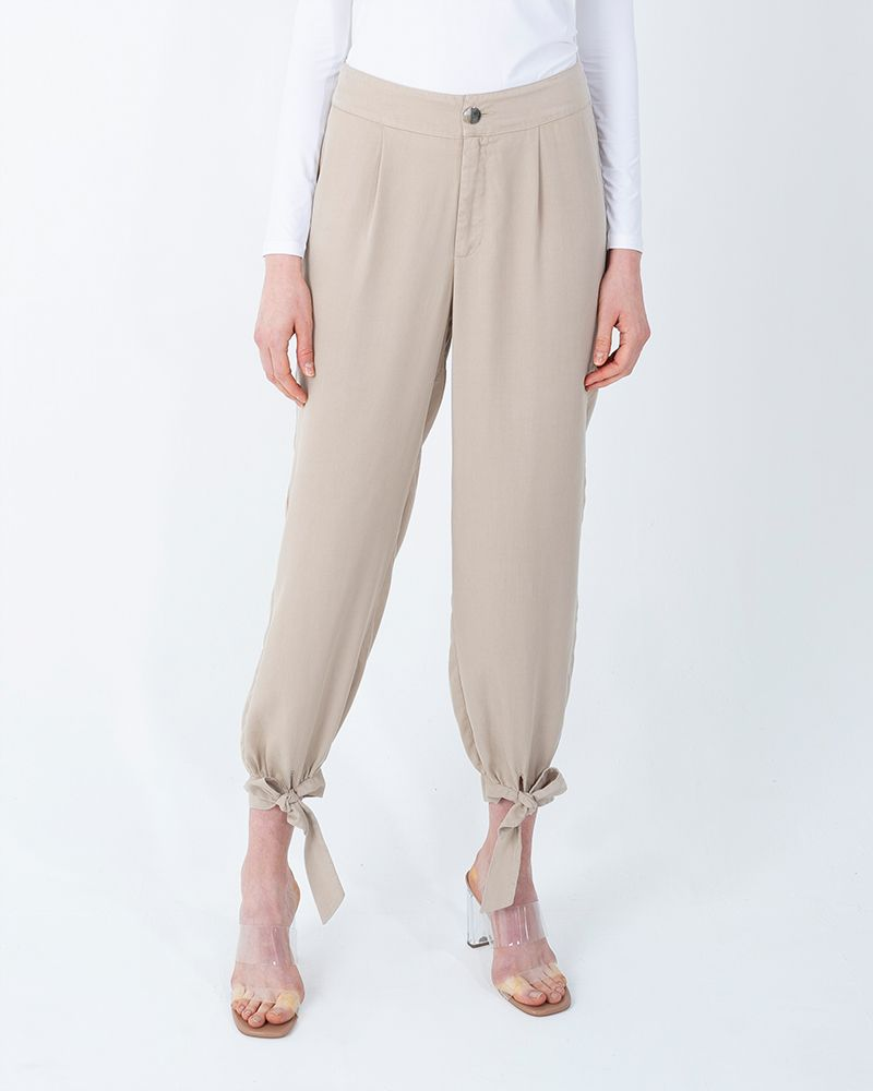 TENCEL ANKLE-KNOT PANTS-BEIGE
