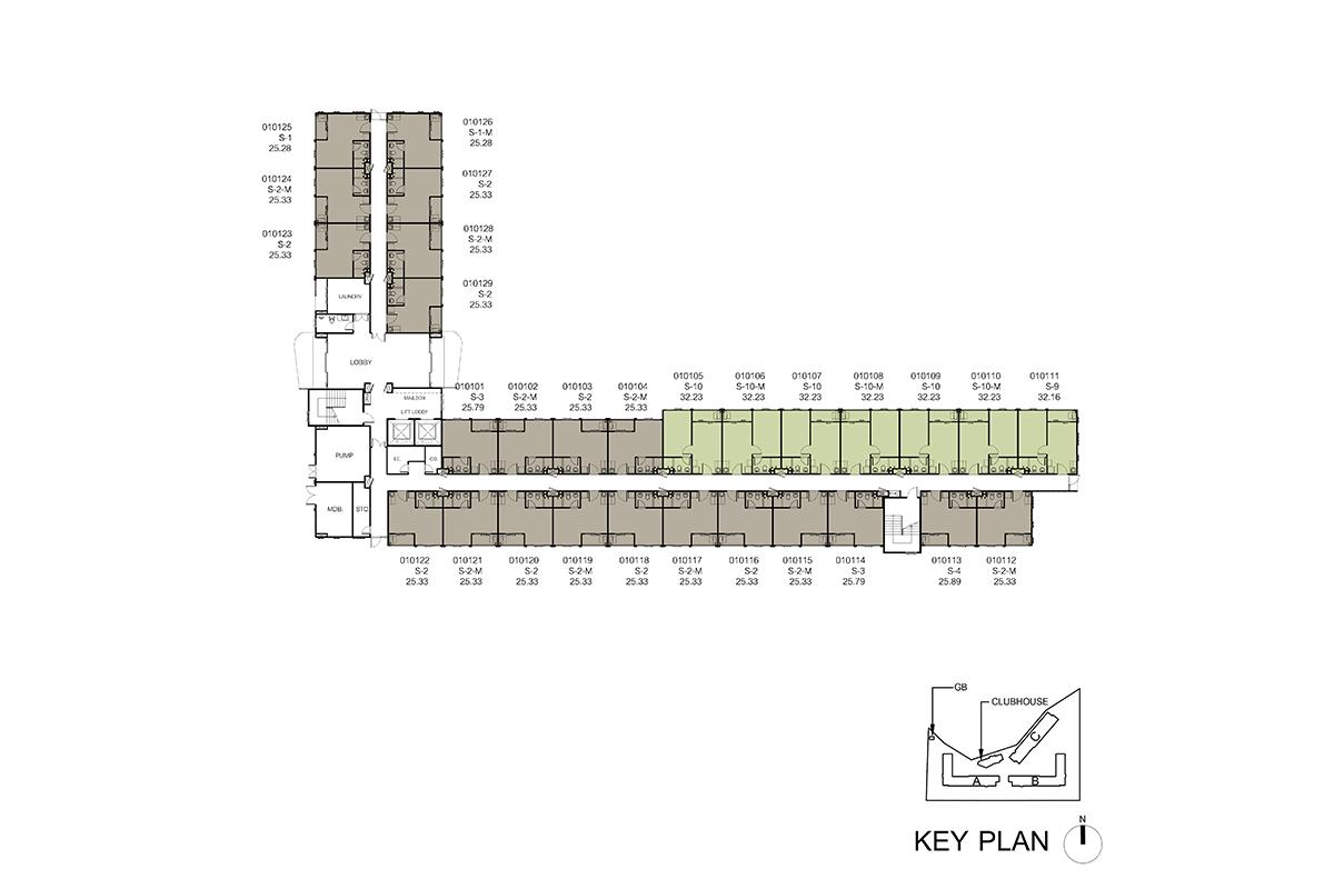 คอนโด รังสิต ใกล้ ม.ธรรมศาสตร์ ดีคอนโด ไฮด์อเวย์ (Dcondo Hideaway) แปลนตึก A ชั้น 1