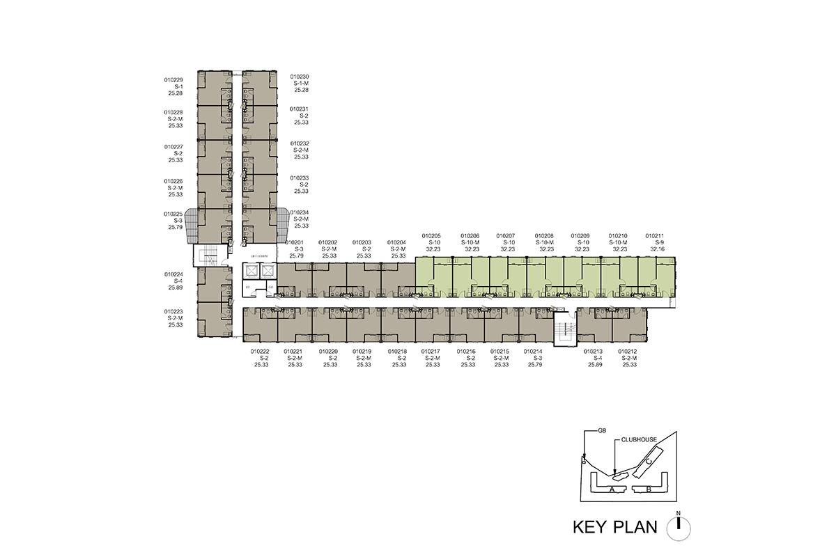 คอนโด รังสิต ใกล้ ม.ธรรมศาสตร์ ดีคอนโด ไฮด์อเวย์ (Dcondo Hideaway) แปลนตึก A ชั้น 2