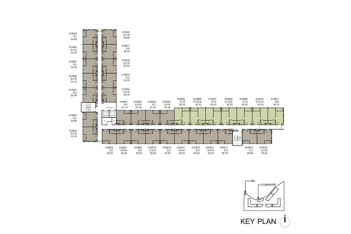 คอนโด รังสิต ใกล้ ม.ธรรมศาสตร์ ดีคอนโด ไฮด์อเวย์ (Dcondo Hideaway) แปลนตึก A ชั้น 6