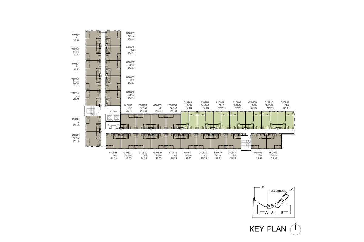 คอนโด รังสิต ใกล้ ม.ธรรมศาสตร์ ดีคอนโด ไฮด์อเวย์ (Dcondo Hideaway) แปลนตึก A ชั้น 8