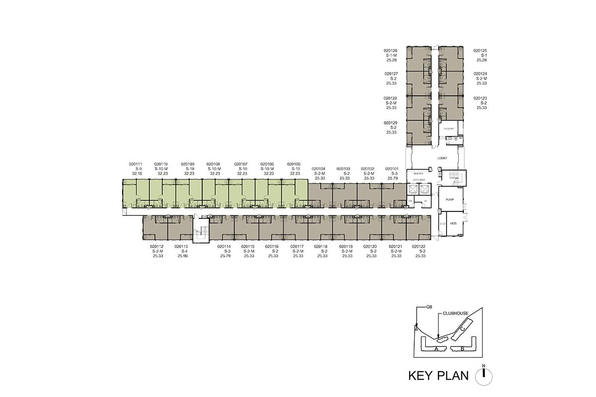 คอนโด รังสิต ใกล้ ม.ธรรมศาสตร์ ดีคอนโด ไฮด์อเวย์ (Dcondo Hideaway) แปลนตึก B ชั้น 1