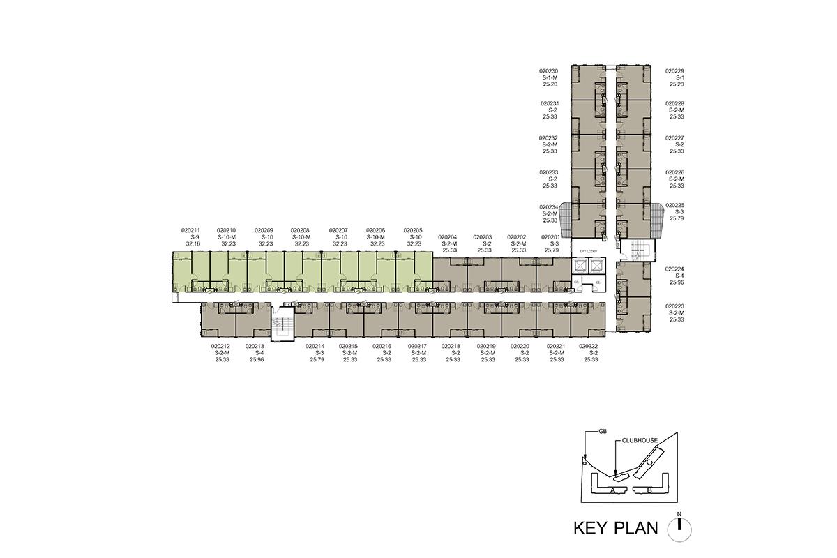 คอนโด รังสิต ใกล้ ม.ธรรมศาสตร์ ดีคอนโด ไฮด์อเวย์ (Dcondo Hideaway) แปลนตึก B ชั้น 2