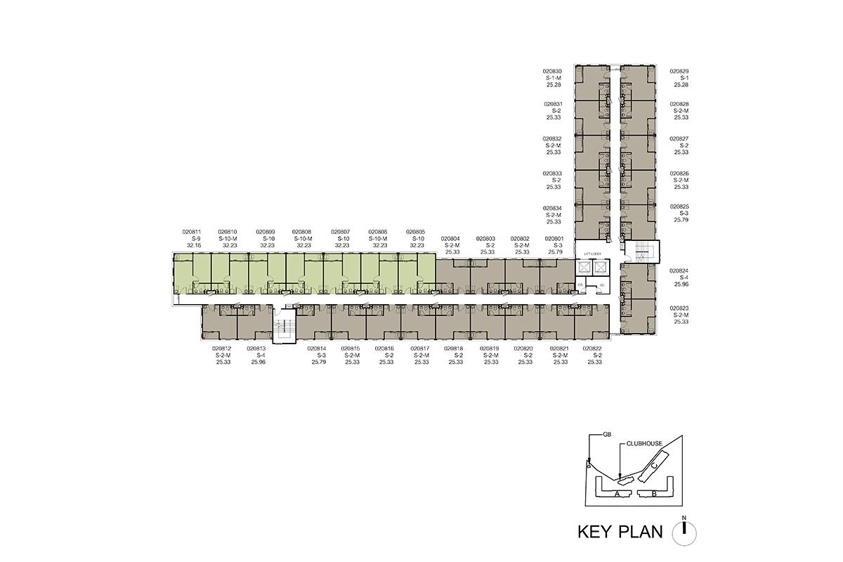 คอนโด รังสิต ใกล้ ม.ธรรมศาสตร์ ดีคอนโด ไฮด์อเวย์ (Dcondo Hideaway) แปลนตึก B ชั้น 8