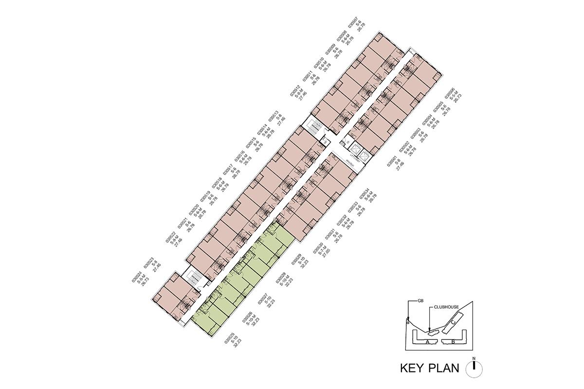 คอนโด รังสิต ใกล้ ม.ธรรมศาสตร์ ดีคอนโด ไฮด์อเวย์ (Dcondo Hideaway) แปลนตึก C ชั้น 5