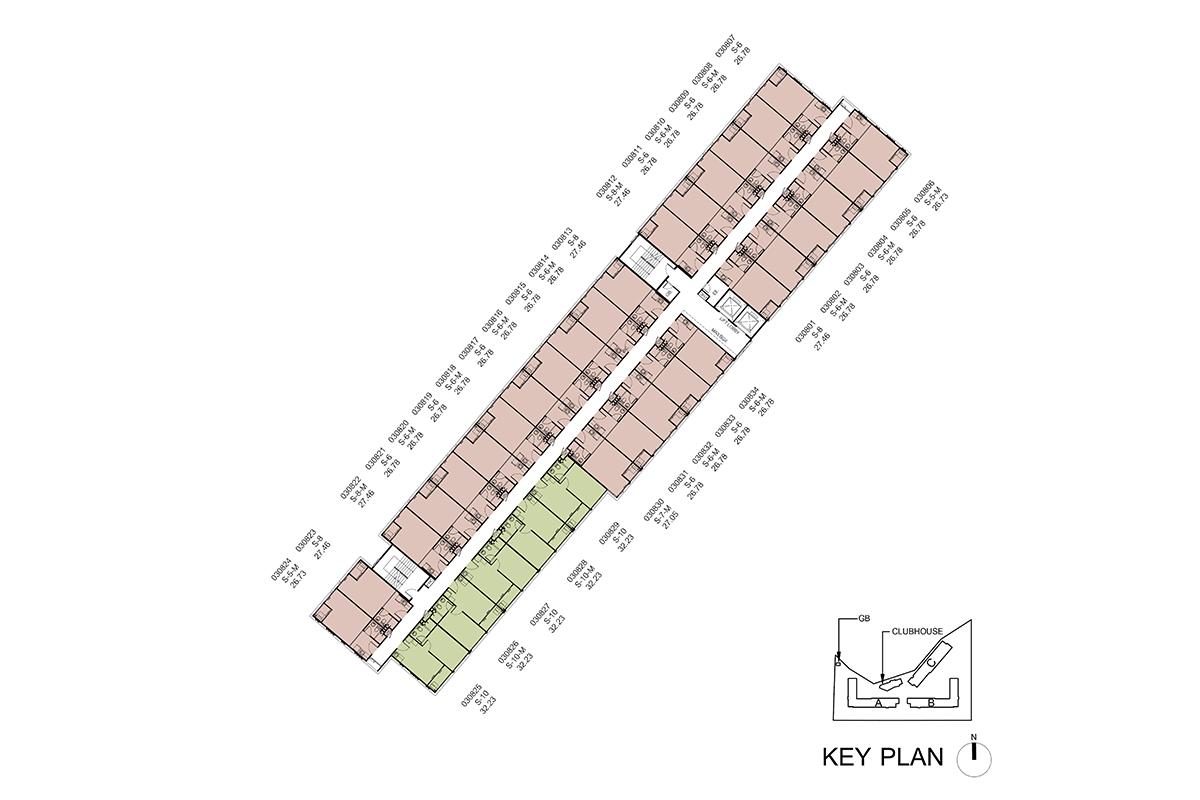 คอนโด รังสิต ใกล้ ม.ธรรมศาสตร์ ดีคอนโด ไฮด์อเวย์ (Dcondo Hideaway) แปลนตึก C ชั้น 8
