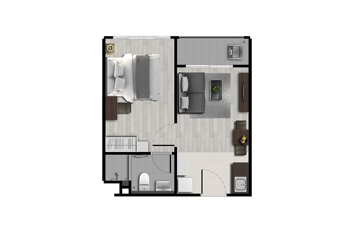 คอนโด รังสิต ใกล้ ม.ธรรมศาสตร์ ดีคอนโด ไฮด์อเวย์ (Dcondo Hideaway) แปลนยูนิต 1 ห้องนอน 1
