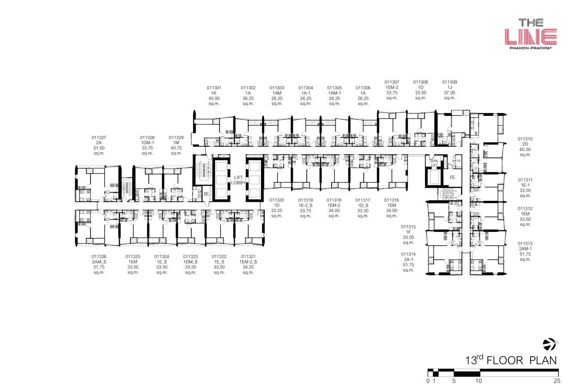 คอนโดมิเนียม เดอะ ไลน์ พหลฯ - ประดิพัทธ์ - Building A ชั้น 13