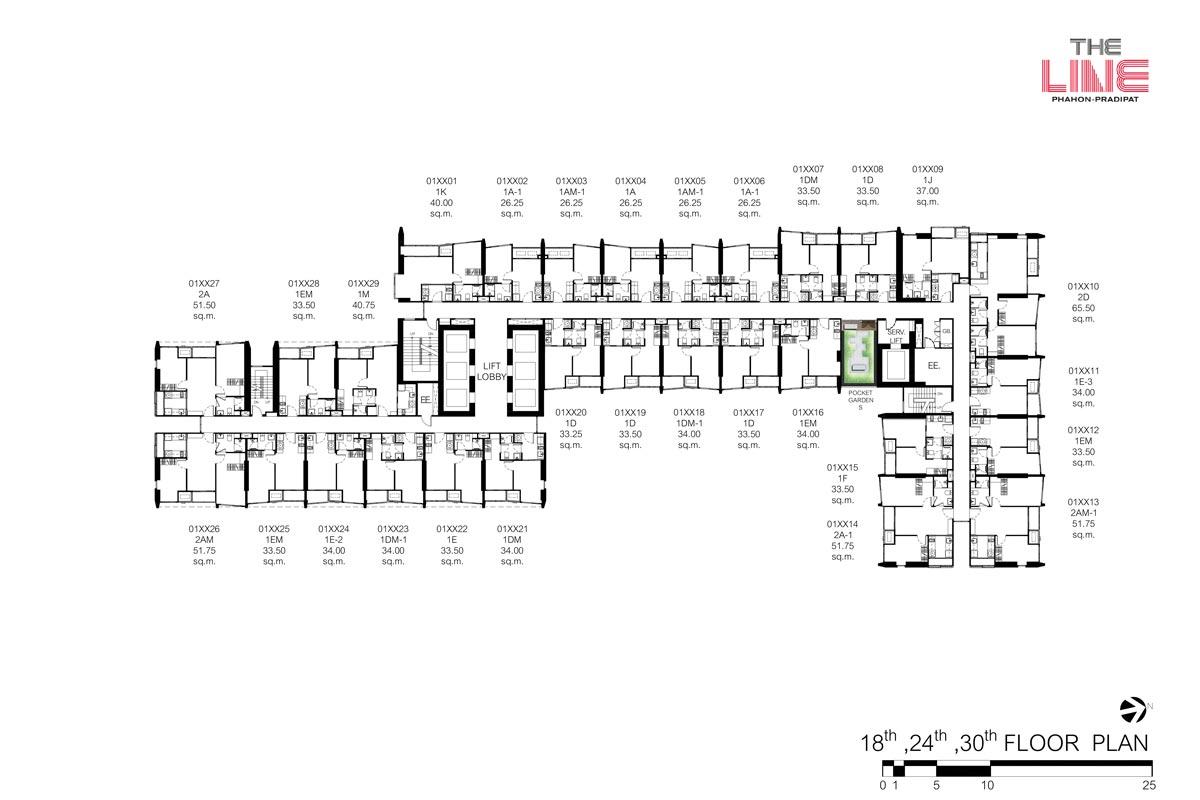 คอนโดมิเนียม เดอะ ไลน์ พหลฯ - ประดิพัทธ์ - Building A ชั้น 18