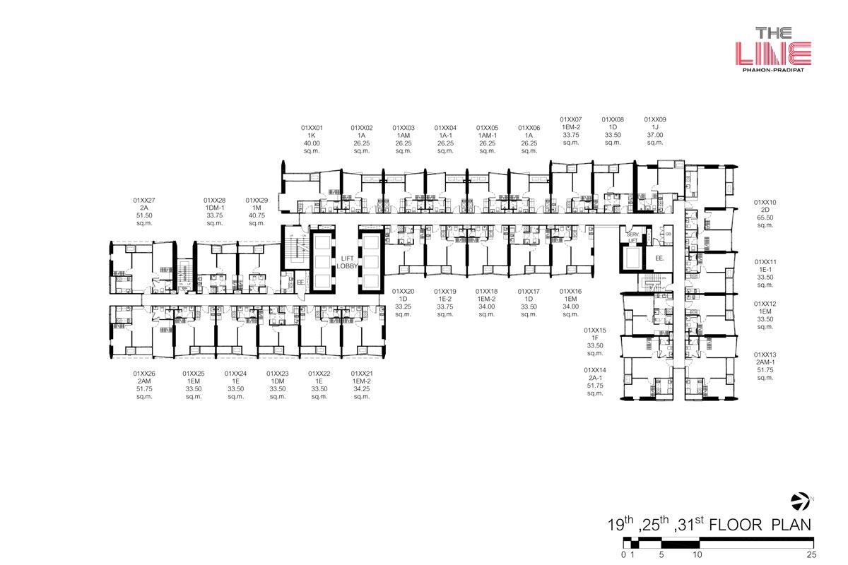 คอนโดมิเนียม เดอะ ไลน์ พหลฯ - ประดิพัทธ์ - Building A ชั้น 19