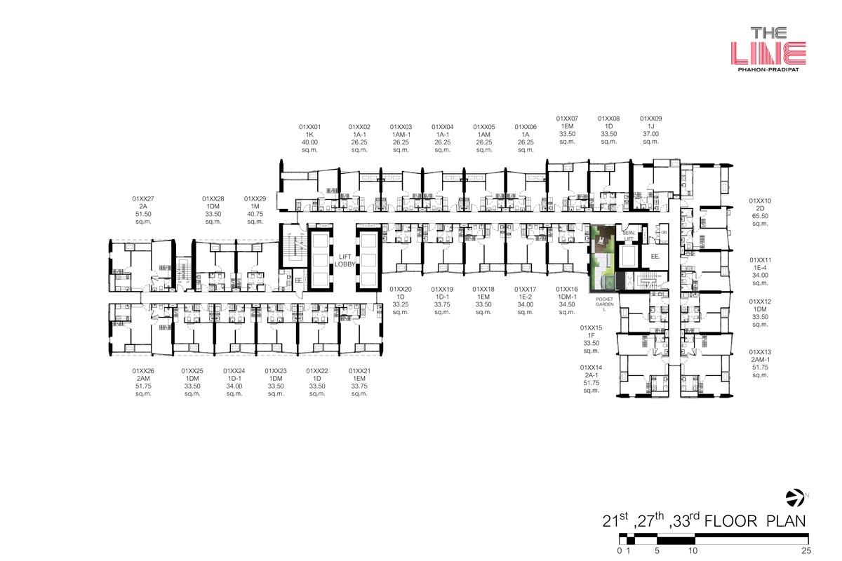 คอนโดมิเนียม เดอะ ไลน์ พหลฯ - ประดิพัทธ์ - Building A ชั้น 21