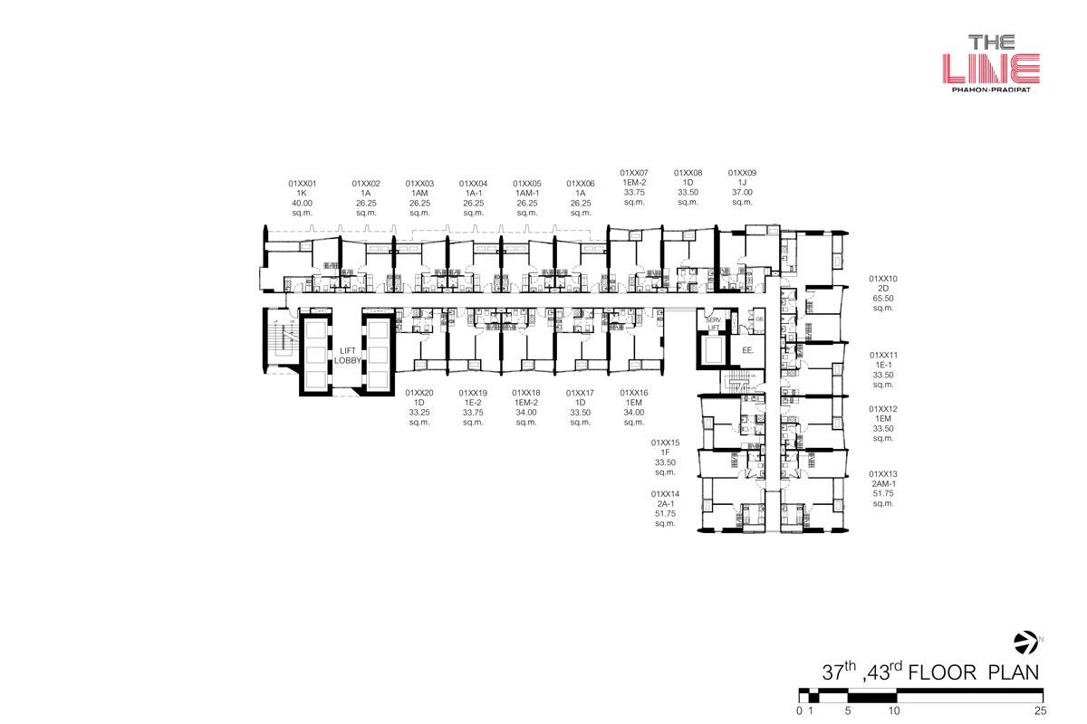 คอนโดมิเนียม เดอะ ไลน์ พหลฯ - ประดิพัทธ์ - Building A ชั้น 37