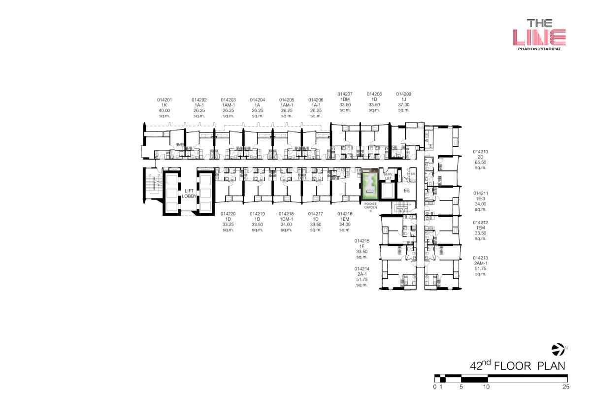 คอนโดมิเนียม เดอะ ไลน์ พหลฯ - ประดิพัทธ์ - Building A ชั้น 42