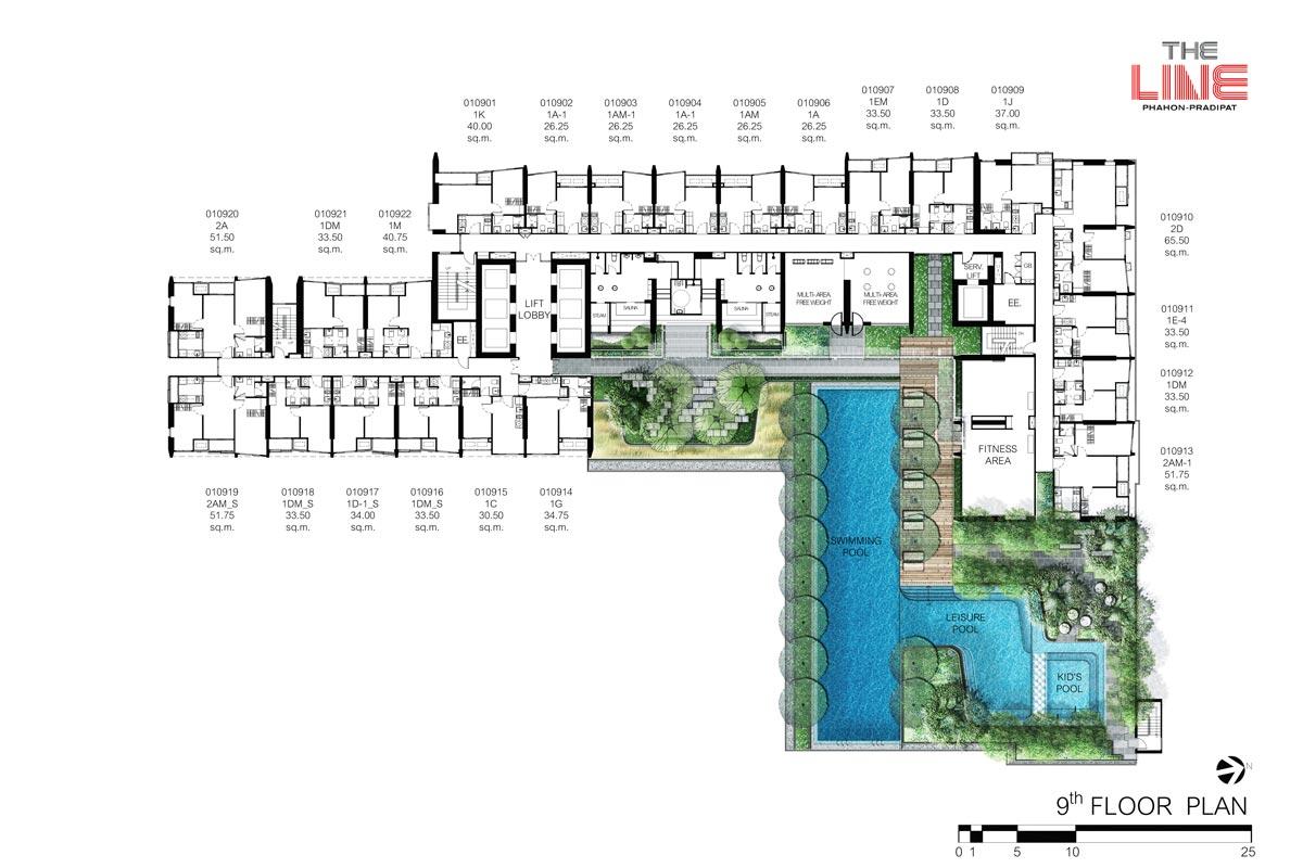 คอนโดมิเนียม เดอะ ไลน์ พหลฯ - ประดิพัทธ์ - Building A ชั้น 9