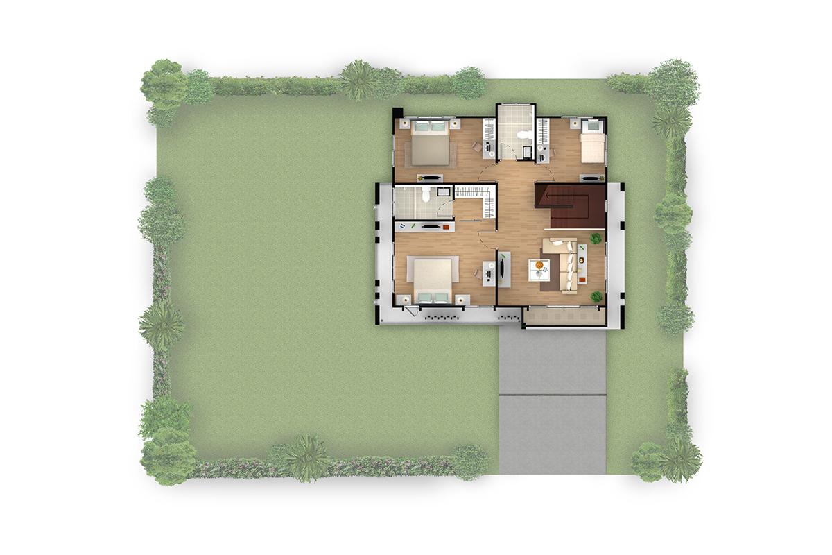 บ้านเดี่ยว ฮาบิเทีย พาร์ค เทียนทะเล 28 - HBP3  ชั้นบน